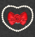 Red rose with bow and pearls for valentine day illustration Stock Photography