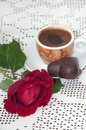 RED ROSE COFFEE CHOCOLATE COOKIE Royalty Free Stock Photo