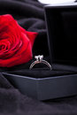 Red rose and diamond ring in a box present love valentines engagement Royalty Free Stock Photography