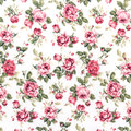 Red Rose Fabric background, Fragment of colorful retro tapestry Royalty Free Stock Photo
