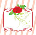 Red rose with floral ornament. Decorative frame Royalty Free Stock Photo