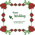 Red rose flowers, frame of leaf, lettering of happy wedding, for invitation card, greeting card. Vector