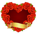 Red Rose Frame in the shape of heart Royalty Free Stock Image