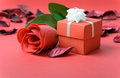 Red rose with gift box and for valentine theme Stock Photos