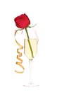 Red rose in glass of champagne and paper streamer. Royalty Free Stock Photo