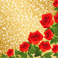 Red rose with green leaves on the gold abstract background Royalty Free Stock Photo