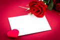 Red rose and heart greetings card Stock Photography
