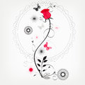 Red rose omantic background with butterflies Royalty Free Stock Photo