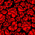 Red Rose seamless pattern. Floral texture. Russian folk ornament Royalty Free Stock Photo