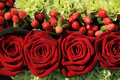 Red rose wedding arrangement Royalty Free Stock Photo