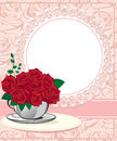 Red rose in a white cup wedding invitations or announcements Royalty Free Stock Photos