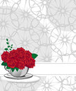 Red rose in a white cup wedding invitations or announcements Stock Photo