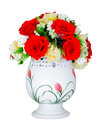 Red rose Yellow Flower vase decoration Royalty Free Stock Photo