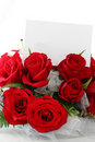 Red Roses with Blank Note Stock Photo
