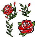 Red roses embroidery patch