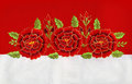 Red roses embroidery three on and white linen Royalty Free Stock Photo