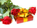 Red roses with gift Royalty Free Stock Images