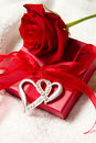 Red roses and gift box Stock Image