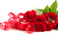 Red roses and gift box Royalty Free Stock Images
