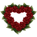 Red roses with green leaves in the shape of heart illustration
