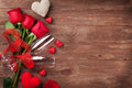 Red roses, hearts and champagne Royalty Free Stock Photo