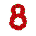 Red roses are laid out in a figure of eight on a white backgroun