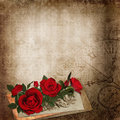Red roses old letters on the vintage shabby background with with space for text or photo Stock Photo