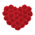 Red roses in the shape of heart Stock Photo