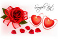 Red roses and two heart candles. Vector. Royalty Free Stock Images