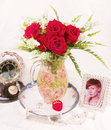Red roses in vase beautiful Stock Photo