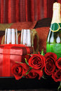 Red roses and Wine Stock Images