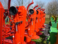 Red rotary mowers machine farm Stock Photography