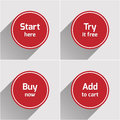 Red round flat web buttons set Royalty Free Stock Photo