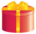 Red round gift box Royalty Free Stock Photo
