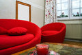 Red round sofa Royalty Free Stock Photo