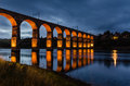 Red royal border bridge the at berwick is a viaduct that supports the main east coast railway line over the river tweed Stock Photo