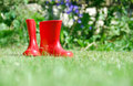 Red rubber boots Royalty Free Stock Photography