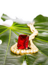 Red ruby ring and pearls Royalty Free Stock Photo