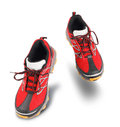 Red running sport shoes isolated on white background Stock Photos
