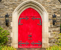 Red Rustic Ornate Church Doors Gatlinburg Tennessee Royalty Free Stock Photo