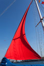 Red sail closeup on clear sky Royalty Free Stock Image
