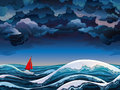 Red sailboat and stormy sky Royalty Free Stock Photo