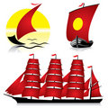Red sailing ships Royalty Free Stock Image