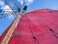 Red sails and rigging mast with ships Stock Photography