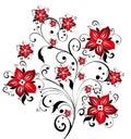 Red sakura flower and vines pattern Stock Photo