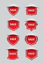 Red sale labels Stock Images