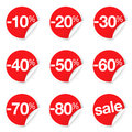 Red Sale Labels Discount And Promotion Royalty Free Stock Photo