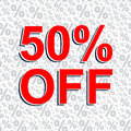 Red sale poster with 50 PERCENT OFF text. Advertising banner