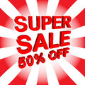 Red sale poster with SUPER SALE 50 PERCENT OFF text. Advertising banner