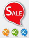 Red sale speech bubble tags set illustration of Stock Photos